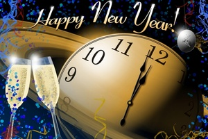 A_free_public_domain_image_wishing_all_a_happy_new_year_with_champagne_a_clock_about_to_strike_midnight_and_a_nasa_space_them_to_welcome_the_new_year_s